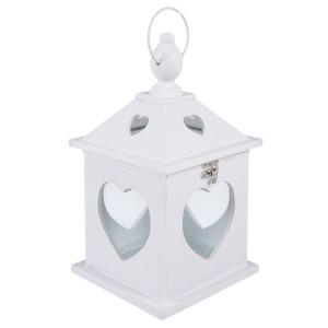 Felinar lemn alb White Heart 14 cm x 14 cm x 27 H