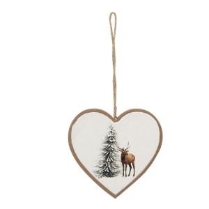 Ornament brad din lemn model Inima 10 cm x 1 cm x 9 h