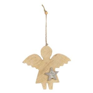 Ornament brad din lemn si metal model Inger 14 cm x 2 cm x 15 h