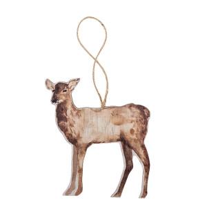 Ornament brad din lemn maro model Ren 9 cm x 12 h