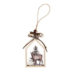 Ornament brad din lemn maro model Ren 7 cm x 3 cm x 12 h