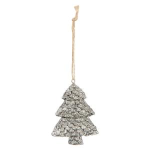 Ornament brad din polirasina argintie model Brad 6 cm x 2 cm x 8 h