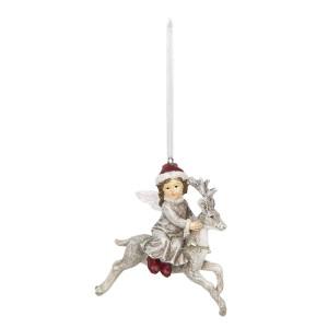 Ornament brad din polirasina model Ren si Copil 8 cm x 5 cm x 9 h