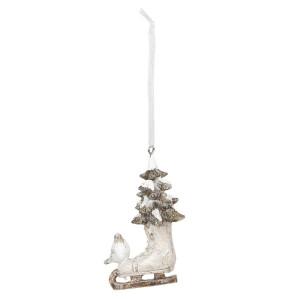Ornament brad model Patina din polirasina alba crem 5 cm x 3 cm x 8 h