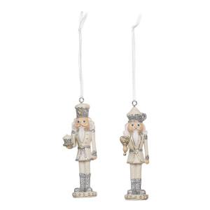 Set 2 ornamente brad Spargatorul de Nuci din polirasina argintie 3 cm x 3 cm x 10 h