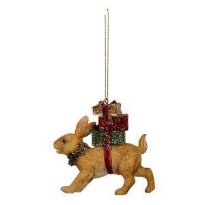 Ornament brad model Iepuras din polirasina 9 cm x 3 cm x 9 h