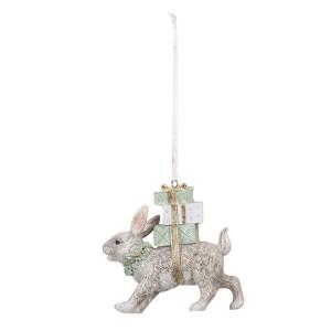 Ornament brad model Iepuras din polirasina alba 9 cm x 3 cm x 9 h
