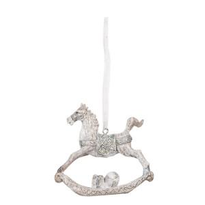 Ornament brad din polirasina gri model Calut 8 cm x 2 cm x 8 h