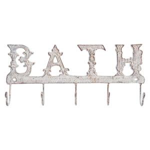 Cuier perete fier forjat alb patinat Bath 26 x 3 x 12 cm