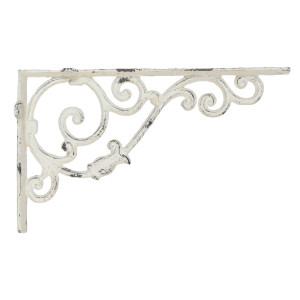 Suport polita fier forjat alb antichizat White Distressed 32x5x20 cm