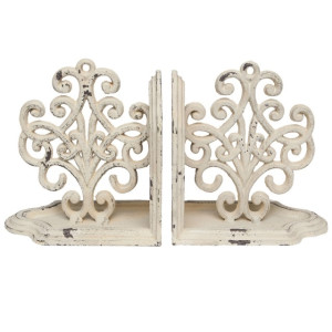 Set 2 suporturi carti metal alb vintage 24 cm x 8 cm x 13 cm