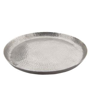 Tava decorativa din metal argintiu Ø 29 cm x 2 cm