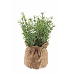 Flori artificiale albe in ghiveci de iuta Ø 8 cm x 18 h