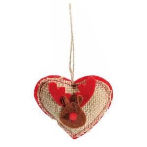 Decoratiune brad iuta rosu inima