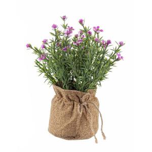 Flori artificiale roz in ghiveci de iuta Ø 8 cm x 18 h