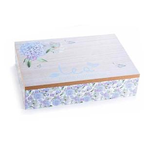 Cutie ceai lemn 6 compartimente Tea albastru 24 cm x 17 cm x 6 h