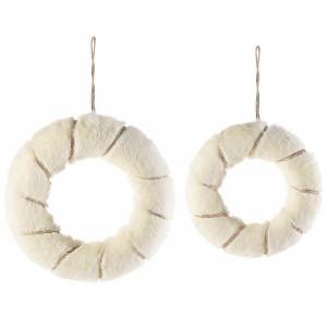 Set 2 coronite din textil alb si auriu Ø 26 cm si Ø 21 cm