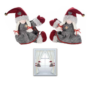 Set 2 figurine Spiridus textil gri pentru prindere perdea cm 20 x 22 H