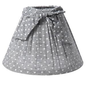 Abajur veioza textil gri cu inimioare albe Ø 22x14 cm
