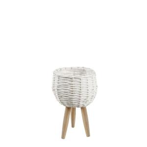 Ghiveci flori decorativ din bambus alb Ø20x17/33h