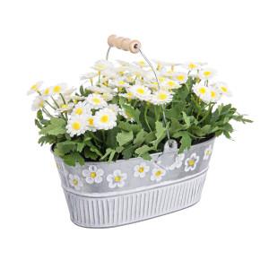 Aranjament floral cu margarete in ghiveci de metal20x11x18h