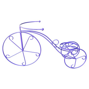 Suport fier forjat ghivece flori model bicicleta mov 90 cm x 47H