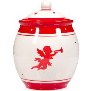 Borcan ceramica crem rosu Inger 10 cm x 21 cm