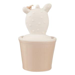 Borcan ceramic decorativ condimente alb bej Cactus Ø 7*11 cm