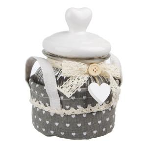 Borcan ceramic decorativ condimente alb gri 16x16x22h