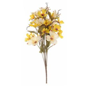 Buchet de flori artificiale galben crem 42 cm