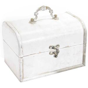 Cufar lemn alb antichizat bijuterii cm 19 x 13 x 14 H