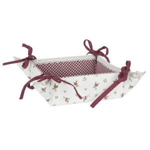 Cos paine bumbac alb rosu 35 cm x 35 cm x 8 cm