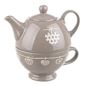 Ceainic si ceasca ceramica gri Cuore Ø18x18h