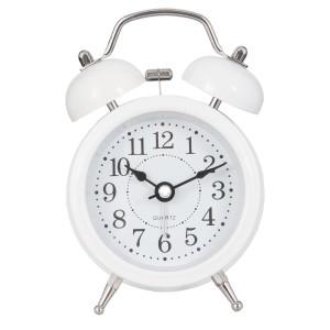 Ceas desteptator metal alb clasic 8*5*12 cm