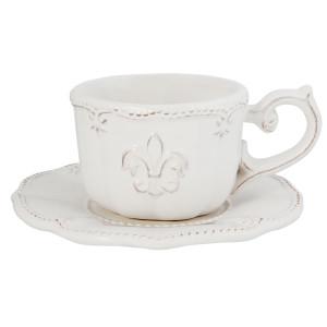 Ceasca cu farfurioara ceramica alba Royal Ø 15 cm x 7 h