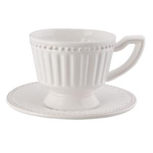 Ceasca cu farfurioara ceramica alba 16*15*9 cm - 0.225 L