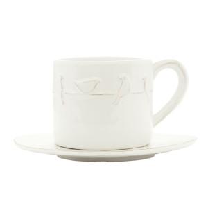 Ceasca cu farfurioara ceramica alba Bird 12*8*7 - Ø 15 cm