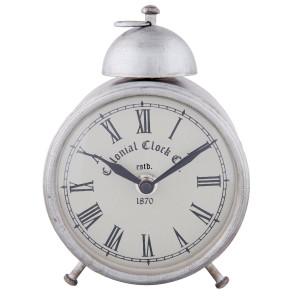Ceas desteptator metal argintiu clasic 11x8x15 cm