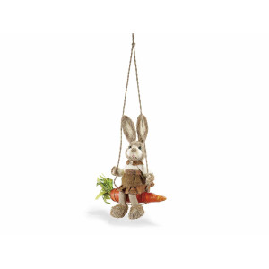 Figurina Iepuras Paste fibre naturale cu leagan cm 30x35H