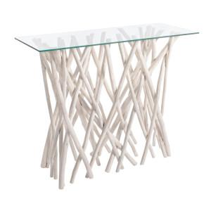 Consola lemn alb patinat cu blat sticla Sahel 100 cm x 40 cm x 80 h