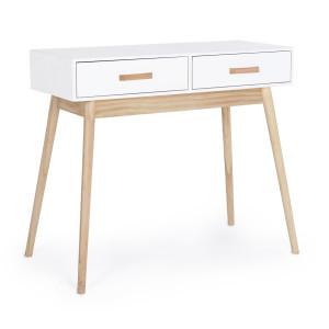 Consola cu 2 sertare lemn alb natur Ordinary 90 cm x 40 cm x 79 h