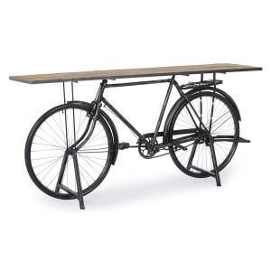 Consola model bicicleta fier negru cu patina argintie cu blat lemn natur Bicycle 193 cm x 46 cm x 92 h