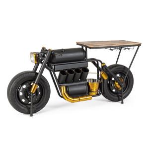 Consola tip Bar model Motocicleta din fier negru si lemn natur 183 cm x 44 cm x 86 h