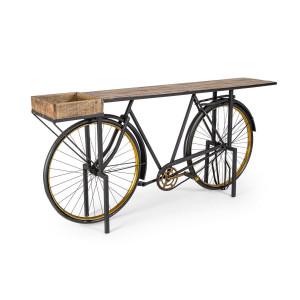 Consola model Bicicleta din fier negru auriu si lemn maro 183 cm x 35 cm x 86 h