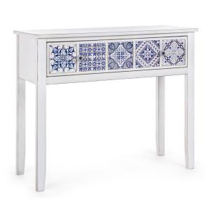 Consola lemn alb albastru 1 sertar Demetra 96 cm x 36.5 cm x 82 h