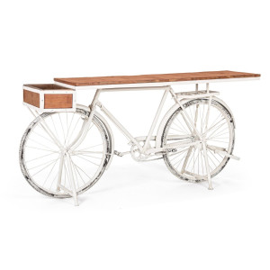Consola model bicicleta fier alb cu blat lemn natur Bicycle 184 cm x 48  cm x 92 h
