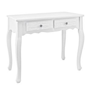 Consola lemn alb cu 2 sertare Blanc 80 cm x 40 cm x 75 h