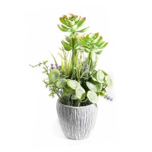 Plante suculente artificiale in ghiveci ceramica verde Ø cm 9 x 30 H