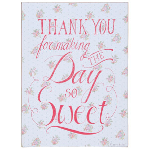 Tablou suspendabil cu mesaj motivational Thank You 30 cm x 40 cm