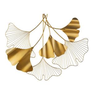 Decoratiune din metal pentru perete auriu Flowers 83x3x67h